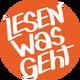 """Orangener runder Kreis mit der Aufschrift """"Lesen was geht"""""""