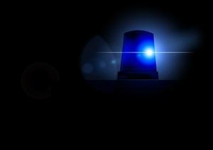 Polizei Sirene blau leuchtend