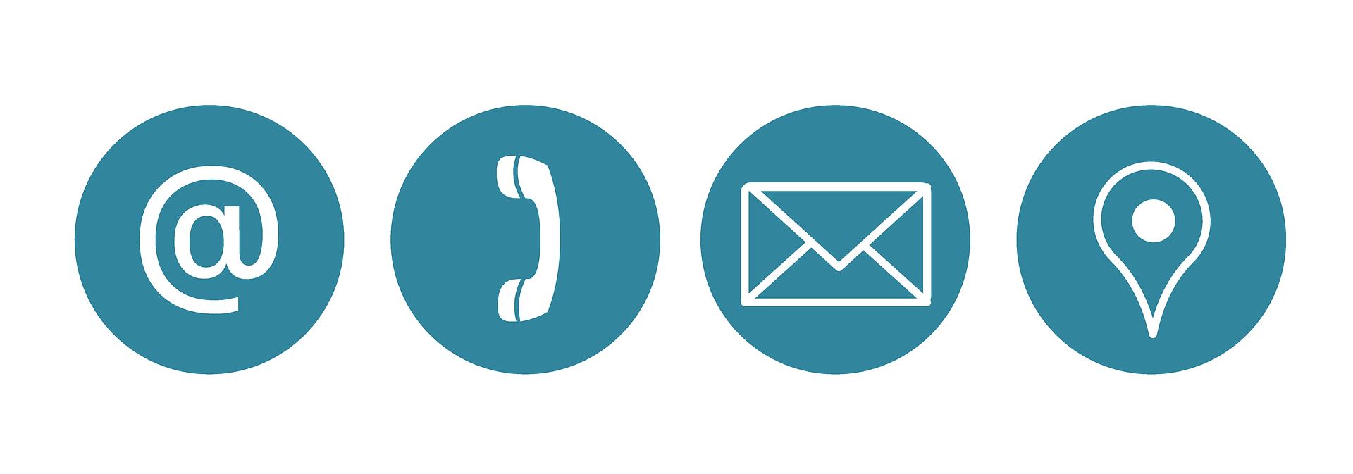 Symboldbild Kontakt mit Symbolen für Mail, Telefon, Brief und Standort