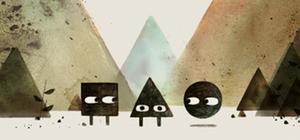 Bild mit einem Quadrat, Dreieck und einem Kreis vor Dreiecksbergen