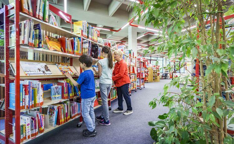 Familie Beim Buecher Aussuchen An Den Regalen In Der Kinderbuchabteilung
