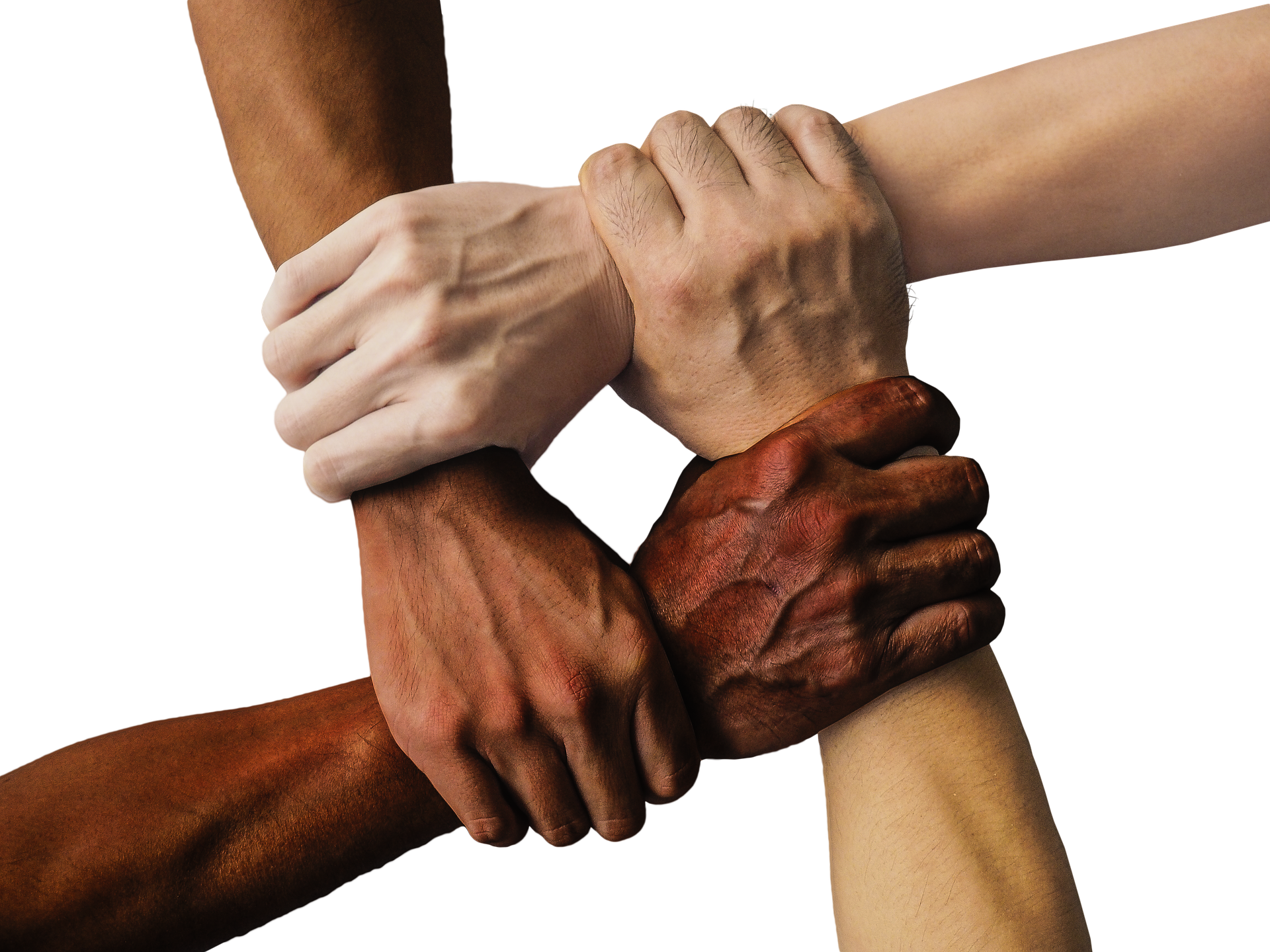 Symbolbild Asyl, Hände in verschiedenen Hautfarben, die sich festhalten