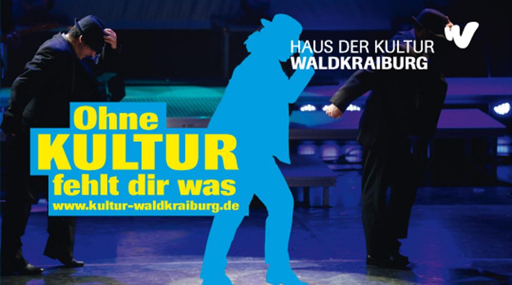 Logo Ohne Kultur fehlt dir was in blau
