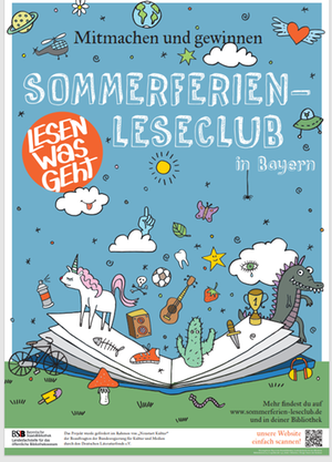 Sommerferien-Leseclub Logo 2021 aufgeklapptes Buch mit vielen kleinen Grafiken